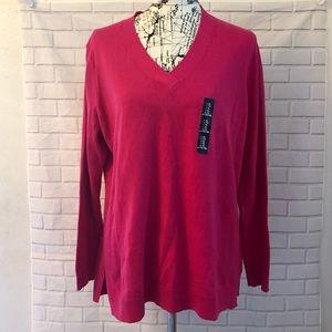 Gap solid pink Vneck pullover sweater